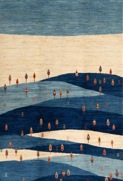 ギャッベ青の風景画