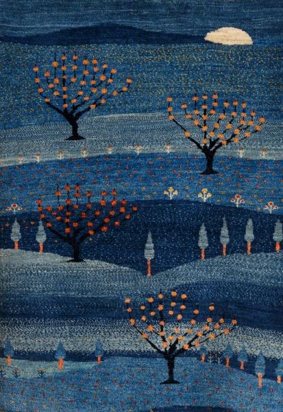アートギャッベ青い風景