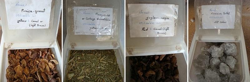 伝統的な草木染の原料