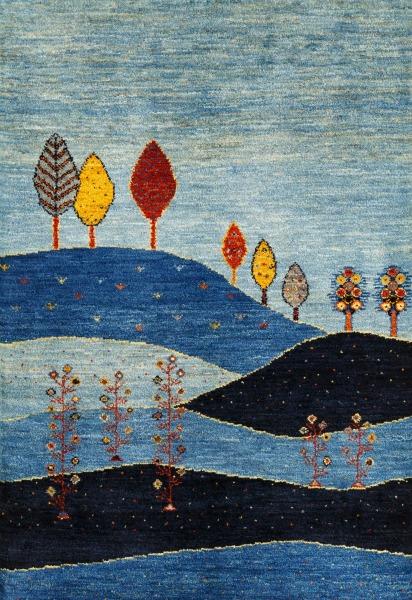 青い風景画のアートギャッベ