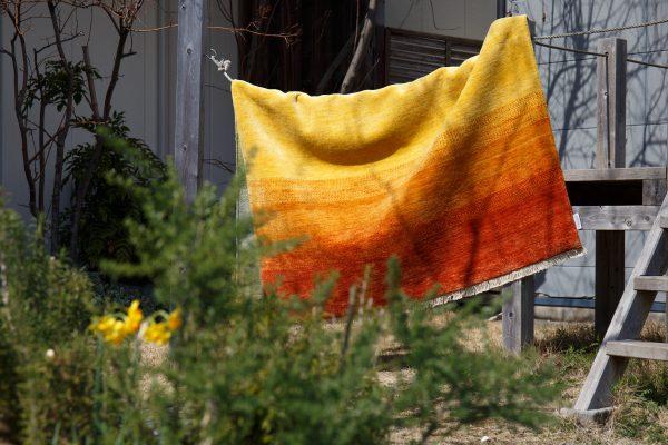 絨毯を干す写真